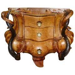 Horns and Crocodile Chest of Drawers with Kudu Horns