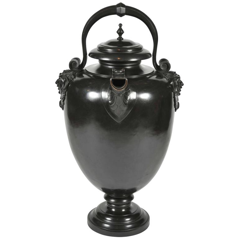 19th century Italian patinated Bronze Wine Urn in the classical manner