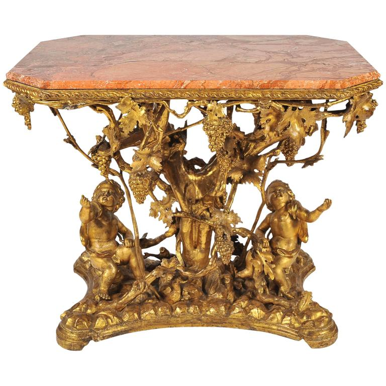 19th Century Italian Gilt Wine Table, Pink Marble Top, Putti, Vines and Grapes