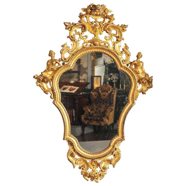 19th Century Italian Carved Wood and Water Gilt Mirror