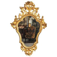 19th Century Mirror, Italian Carved Wood and Water Gilt