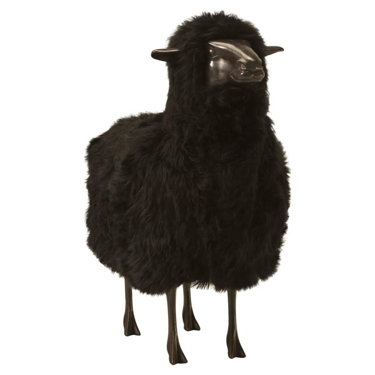 Lalanne Inspired Sheep, in Solid Bronze with Real Black Fur 1