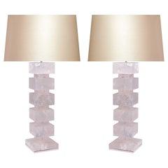 Large Pair of Block Form Rock Crystal Quartz Lamps