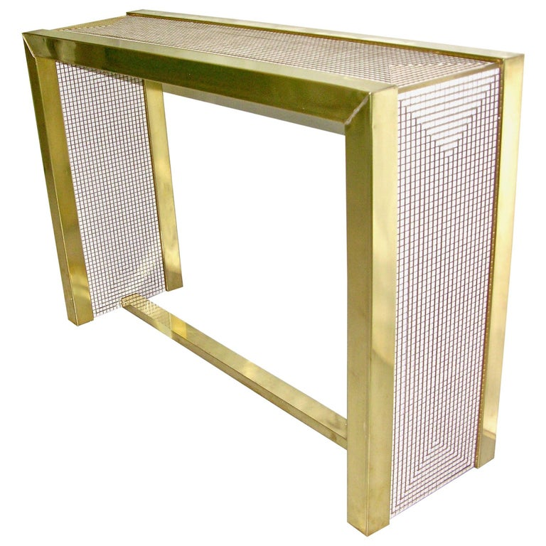 1970s Modern Italian Gold Brass and White Ceramic Mosaic Console For Sale