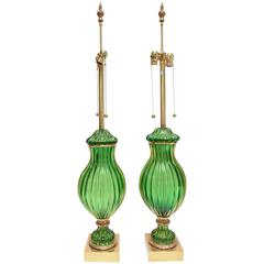 Monumental Marbro Pair of Lamps in Murano Glass
