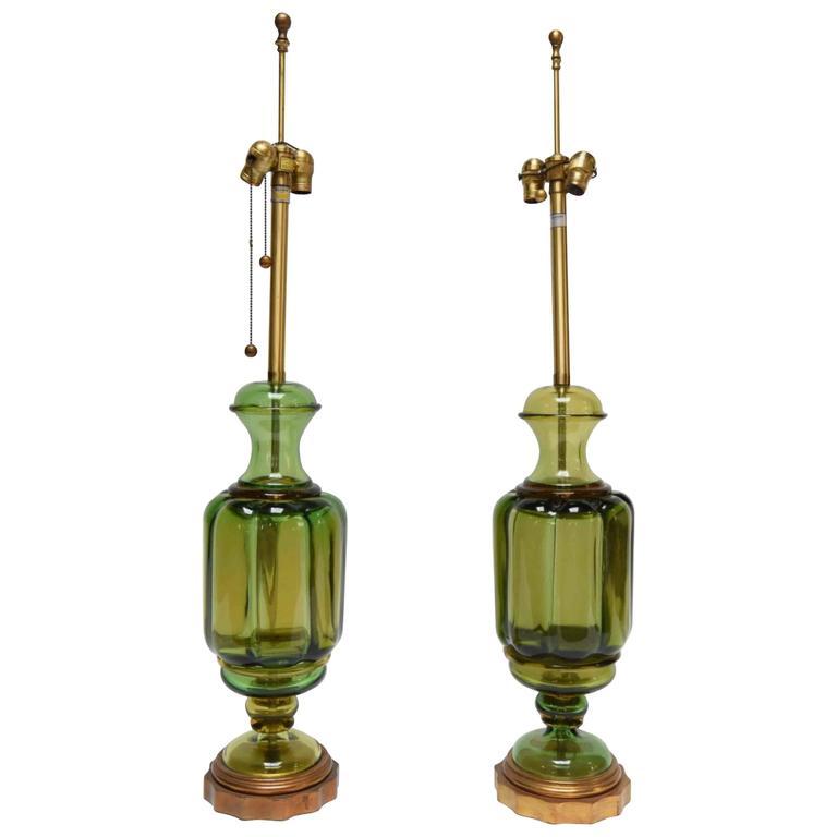 Marbro Pair of Monumental Murano Lamps