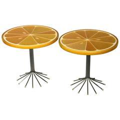 Pair of Orange Citrus Slice Tables