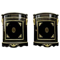 Pair of Furniture of Corners with Brass Inlay First Period 19th Century