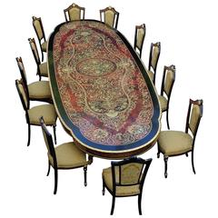 Big Table with 12 Chairs in Boulle Marquetry, 20th Century