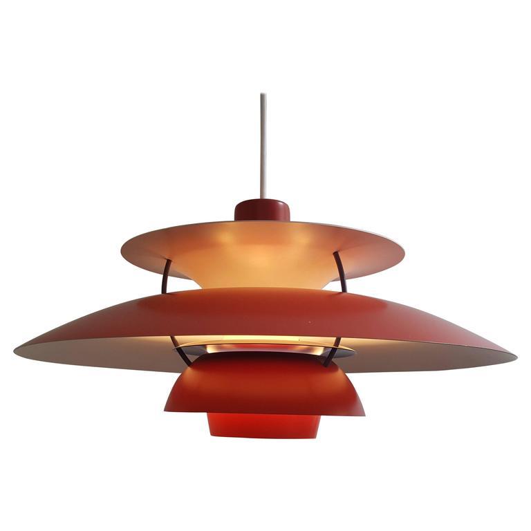 poul henningsen ph5 pendant light for louis poulsen denmark in red 1958 at 1stdibs. Black Bedroom Furniture Sets. Home Design Ideas