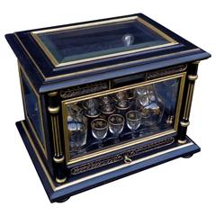 Tantalus Liquor Box with Glasses in Black and Gold, 19th Century, Napoleon III
