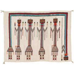Vintage Navajo Yei Rug, Oriental Rug, Handmade Wool Rug, White Color