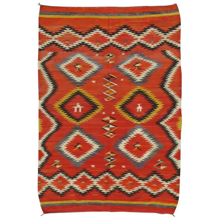 Antique Navajo Blanket, Oriental Rug, Handmade Wool Rug, Red Color