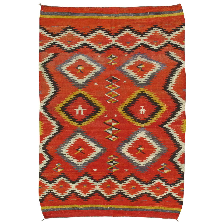 Antique Navajo Blanket Oriental Rug Handmade Wool Rug