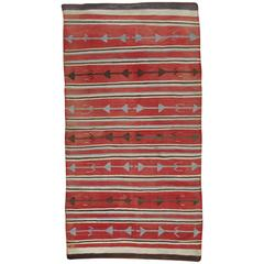Antique Navajo Carpet, Oriental Rug, Handmade Wool Rug, Red Color