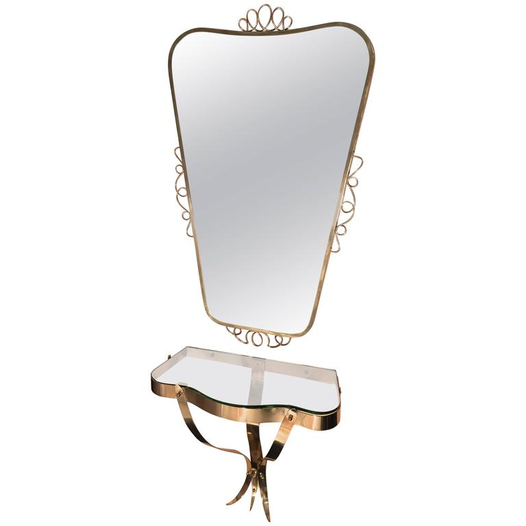 Adorable Mirror with Shelf in the Style of Gio Ponti, 1970s