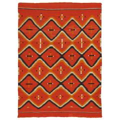 Antique Navajo Trans Blanket, Oriental Rug, Handmade Wool Rug, Orange