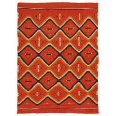 Antique Navajo Trans Blanket, Oriental Rug, Handmade Wool Rug, Orange