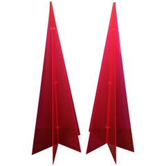 Glamorous Pair of 1970s Pink Lucite Tree Form Sculptures