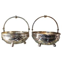 Pair of Continental 800 Silver Bowls Basket Dishes