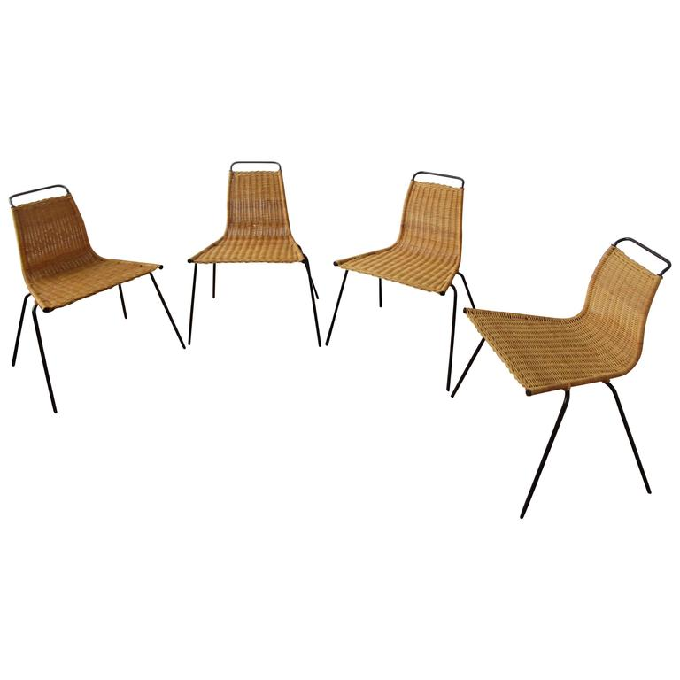 Poul Kjærholm Four PK1 Chairs in Wicker with Steel Frame