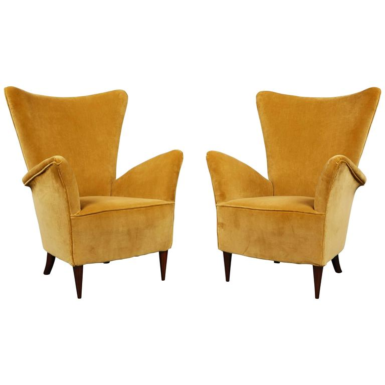 Pair Of Small Scale Gold Velvet Armchairs For Sale At 1stdibs