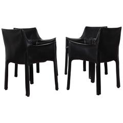 Set of Four Black CAB Armchairs by Mario Bellini for Cassina