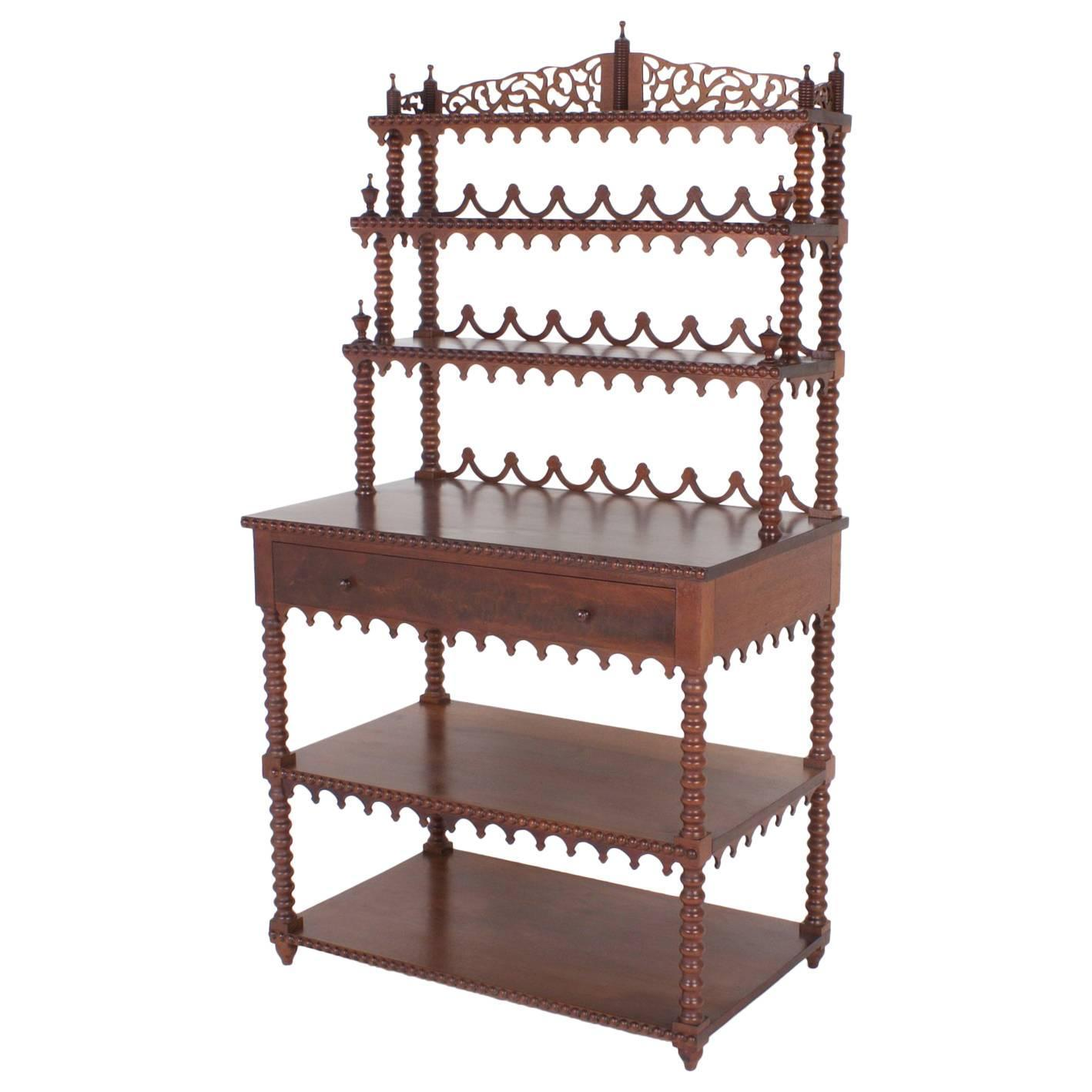 Highly Unusual Mahogany Set Of Shelves Or Tag Re For Sale