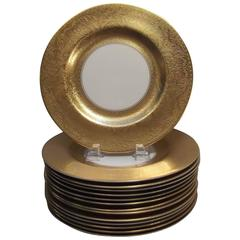 Set of 14 Gold Encrusted Service Plates by Pickard