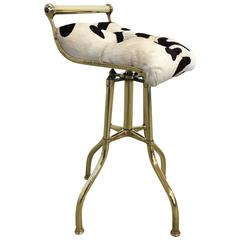 Adjustable English Brass and Tufted Leather Hide Stool