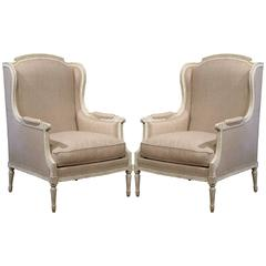 Pair of 19th Century French Louis XVI Carved Painted Armchairs with Shaped Ears