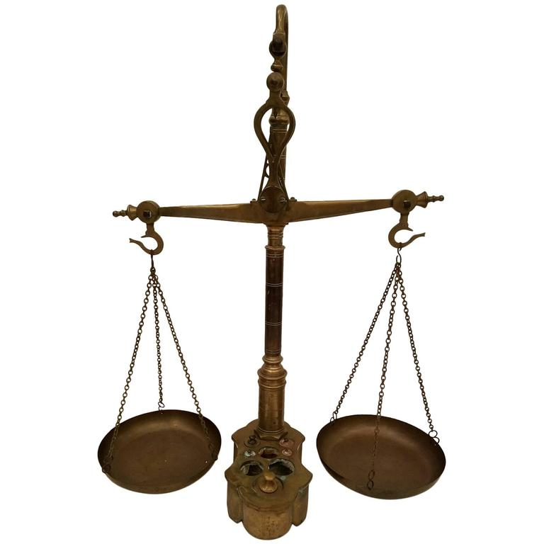 Antique Brass Balance Or Beam Scale At 1stdibs