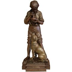 Early 20th Century French Spelter Sculpture Signed Rousseau and Dated 1932