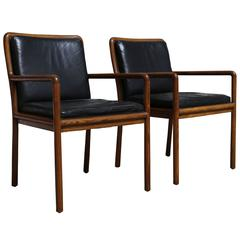 Pair of Oak and Leather Armchairs by Ward Bennet