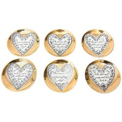 Six Italian Piero Fornasetti Gilded Porcelain Love Heart Coasters/Barware
