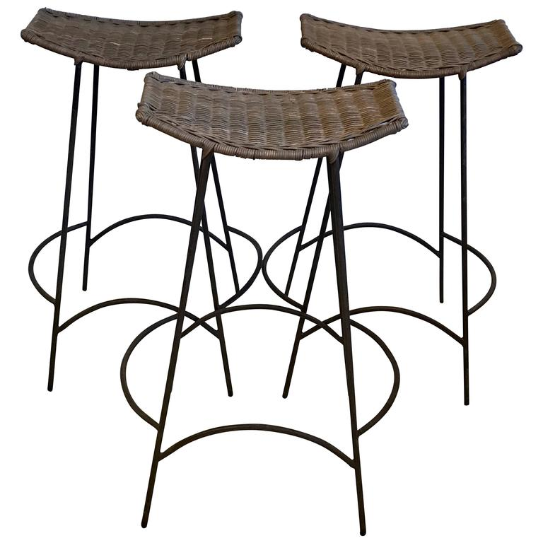 three arthur umanoff iron and rattan bar stools 1