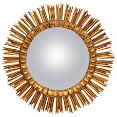Midcentury French Sunburst Mirror with Gilt Finish and Convex Mirror