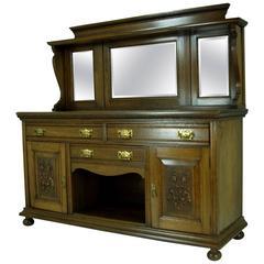 Large Antique Scottish Victorian Oak Mirrorback Sideboard or Credenza
