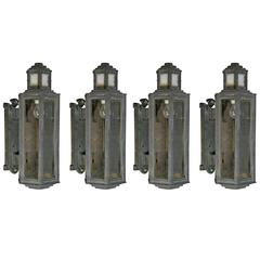 1920 Art Deco Cast Iron Outdoor Sconces