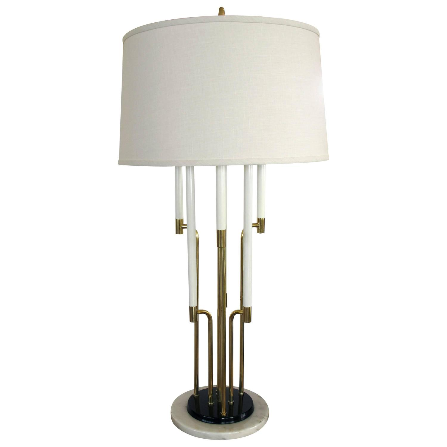 1950s six light brass table lamp with marble base for sale at 1stdibs. Black Bedroom Furniture Sets. Home Design Ideas