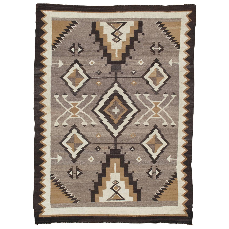 Antique Navajo Carpet, Oriental Rug, Handmade Wool Rug