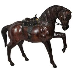 Monumental Leather Full Body Horse Sculpture