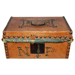 Early 19th Century Leather Covered Document Box from Boston