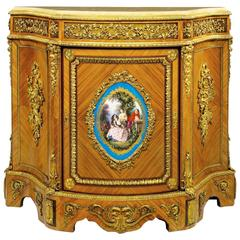 French Louis XVI Style Ormolu and Sèvres Style Porcelain Mounted Meuble d'Appui
