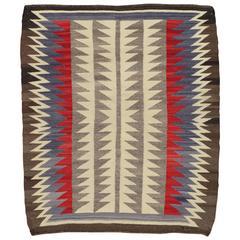 Antique Navajo Carpet, Oriental Rug, Handmade Wool Rug, Beige Color
