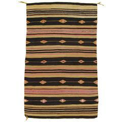 Unique Vintage Navajo Carpet, Oriental Rug Handmade Wool, Black Color