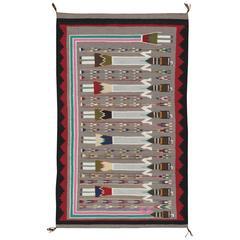 Antique Navajo Yei Rug, Oriental Rug, Handmade Wool Rug, Gray Color