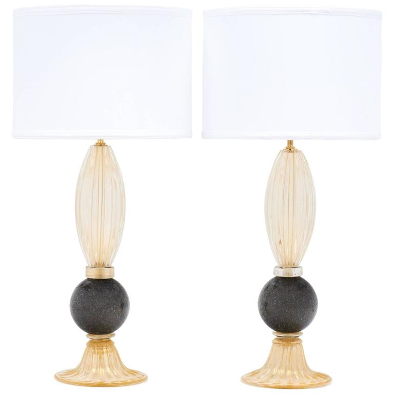 Pair of Gold and Gray Murano Glass Table Lamps