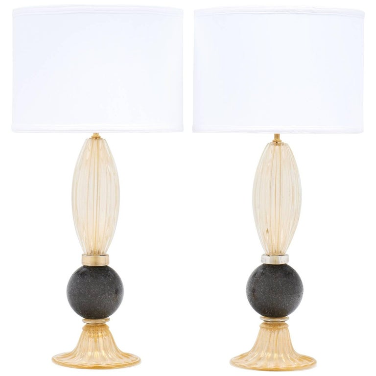 Pair of Gold and Gray Murano Glass Table Lamps For Sale