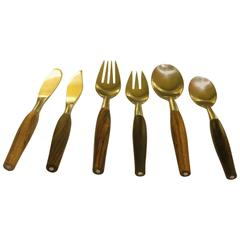 1950s Danish Modern Stainless Steel & Rosewood Flatware Six-Piece Place